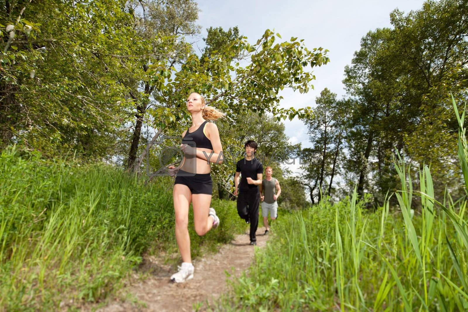 Health conscious people running on forest trail