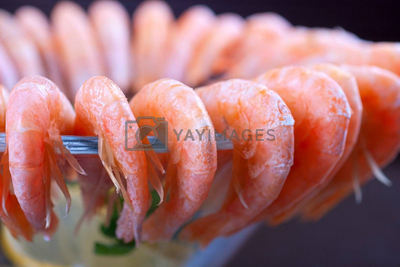 tasty shrimps with lemon and greens closeup