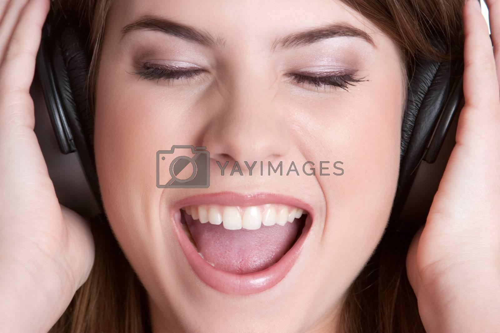 Teenage headphones music girl singing