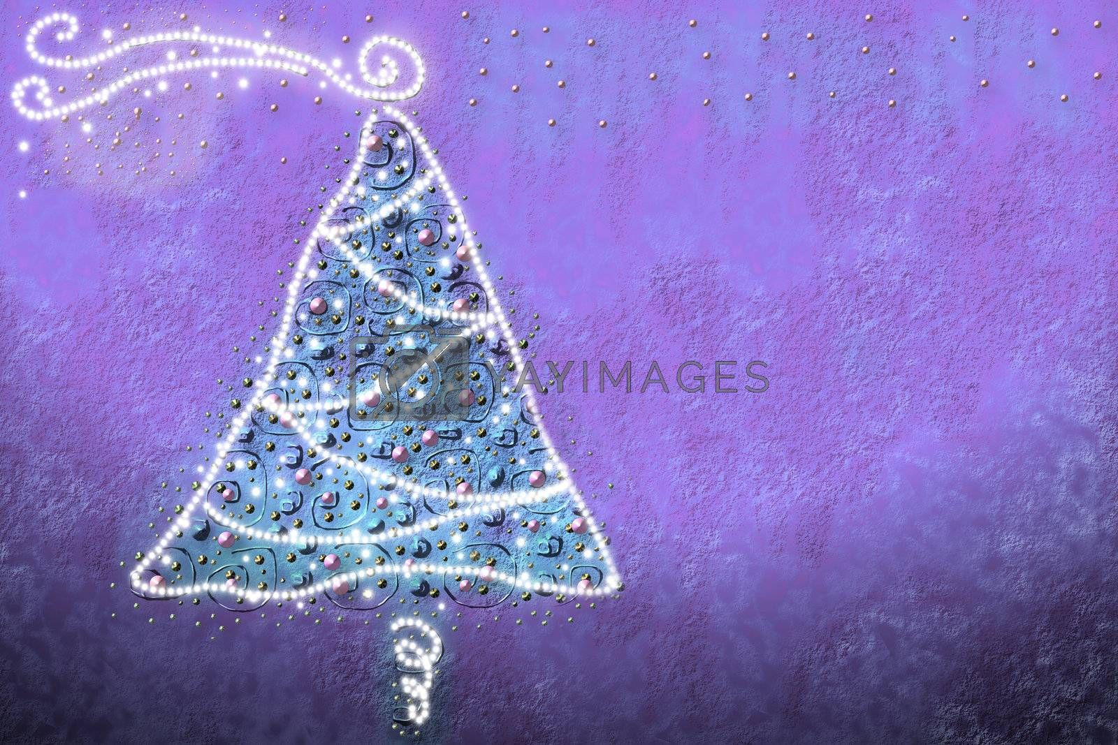 drawing by Christmas tree with baubles and lights