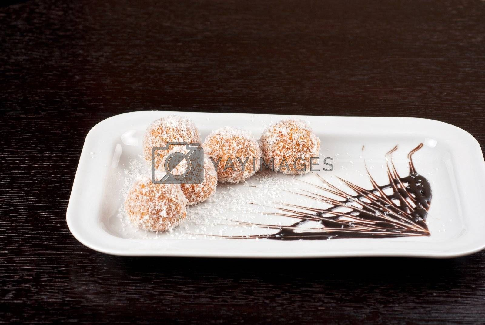 fresh baked cupcake closeup on a white plate