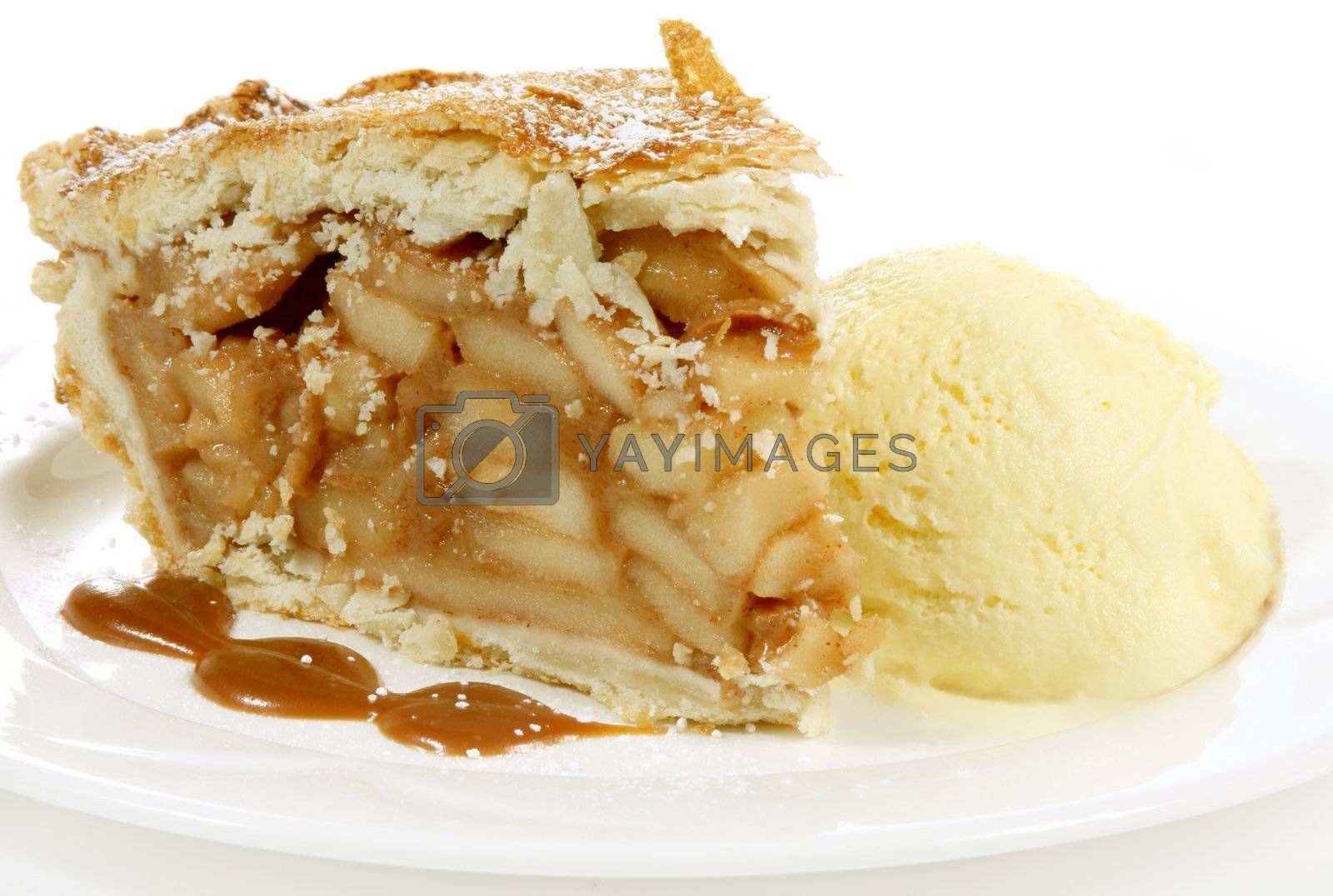 huge apple pie and icecream with icing sugar