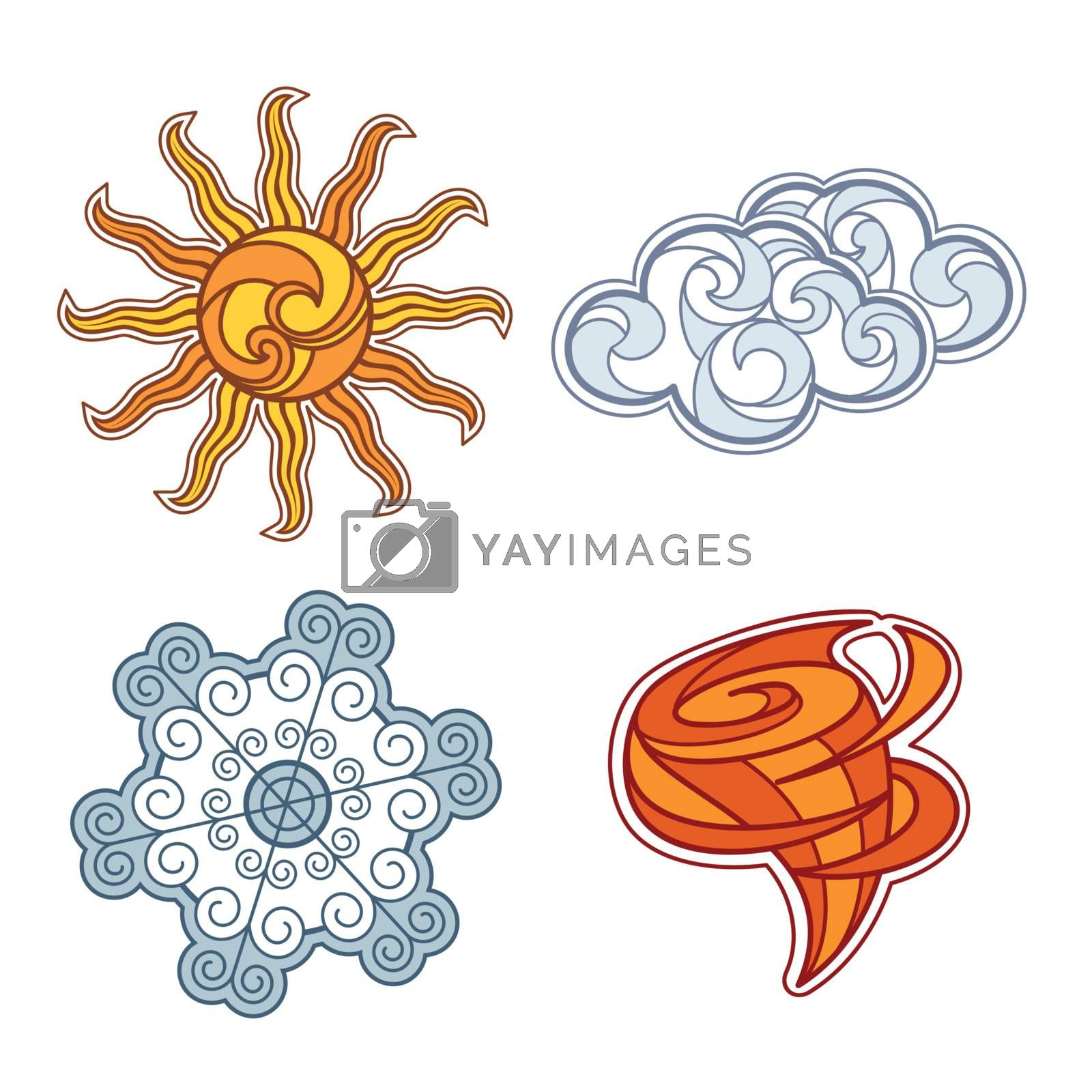 set of weather elements by SelenaMay