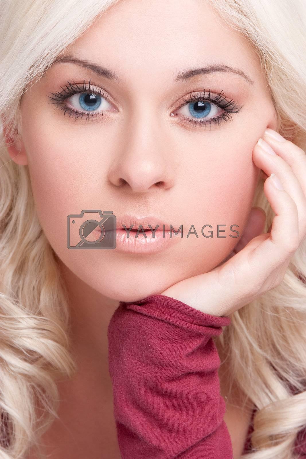 Beautiful blond woman closeup portrait