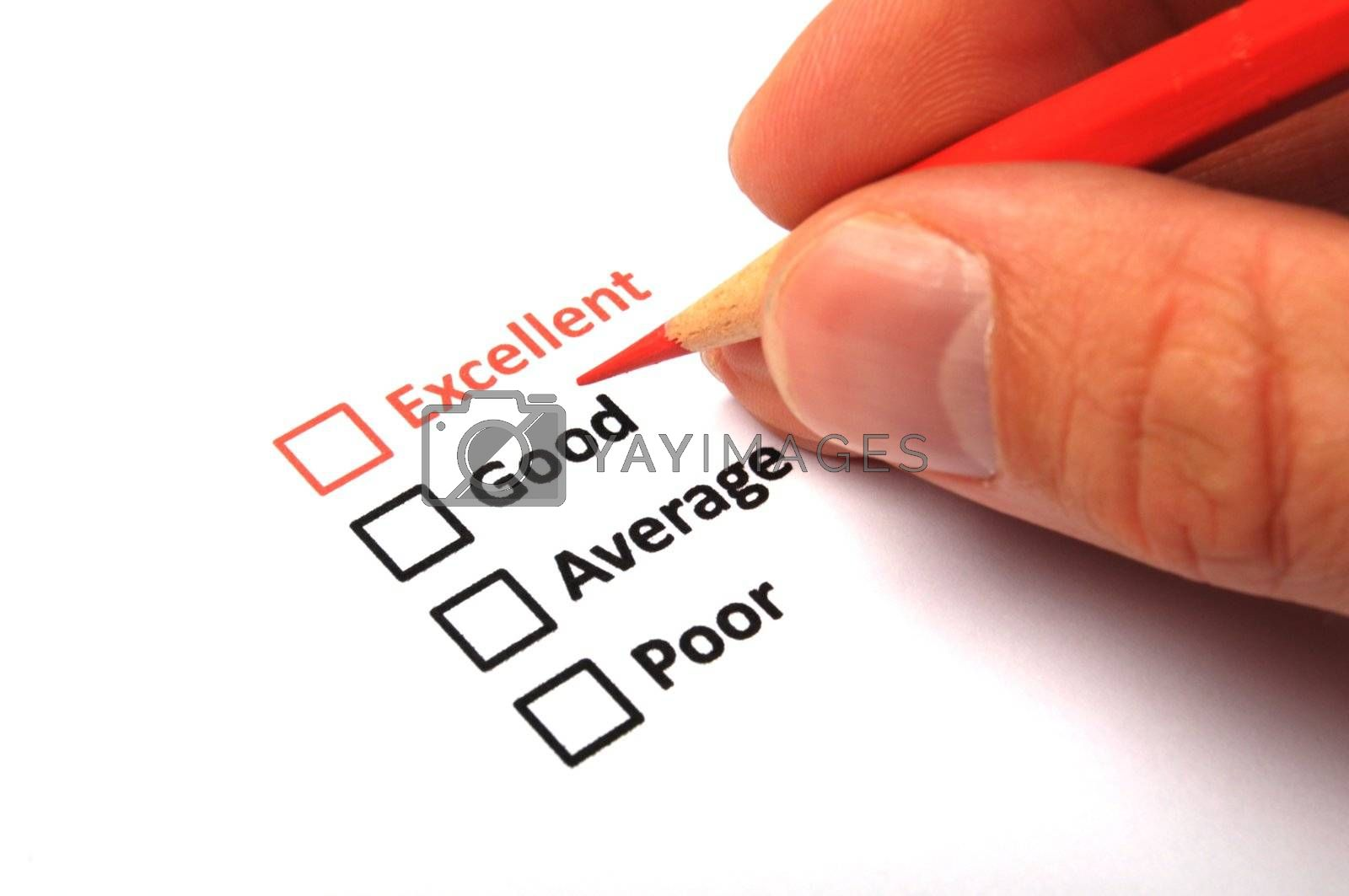 customer service survey with checkbox on form an red pencil