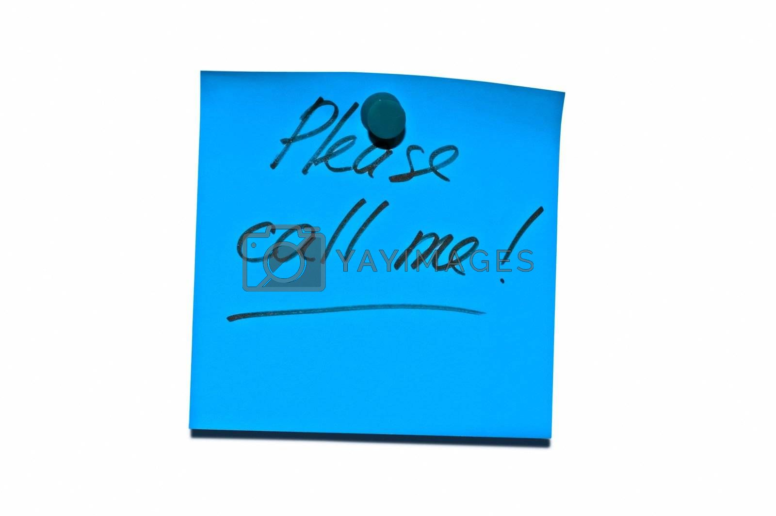 """Sticky post it note with """"Please call me"""" wording"""