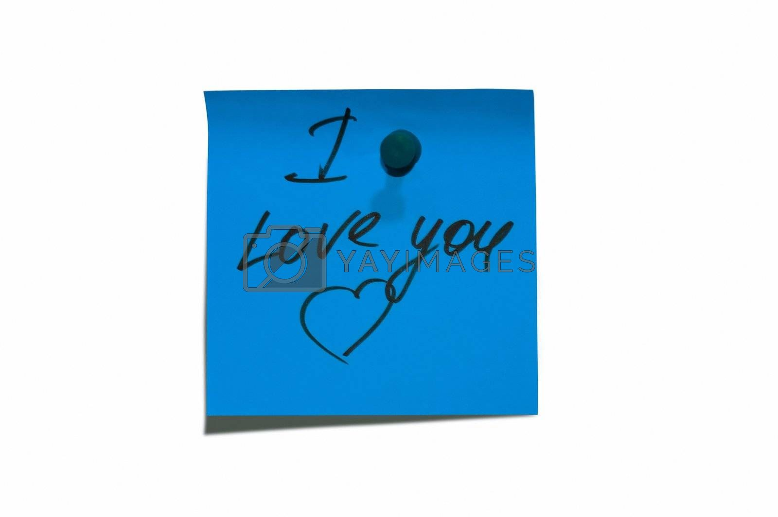 """Sticky post it note with """" I Love You"""" wording"""