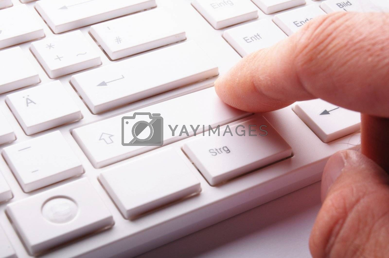 computer keyboard in white showing modern office work concept