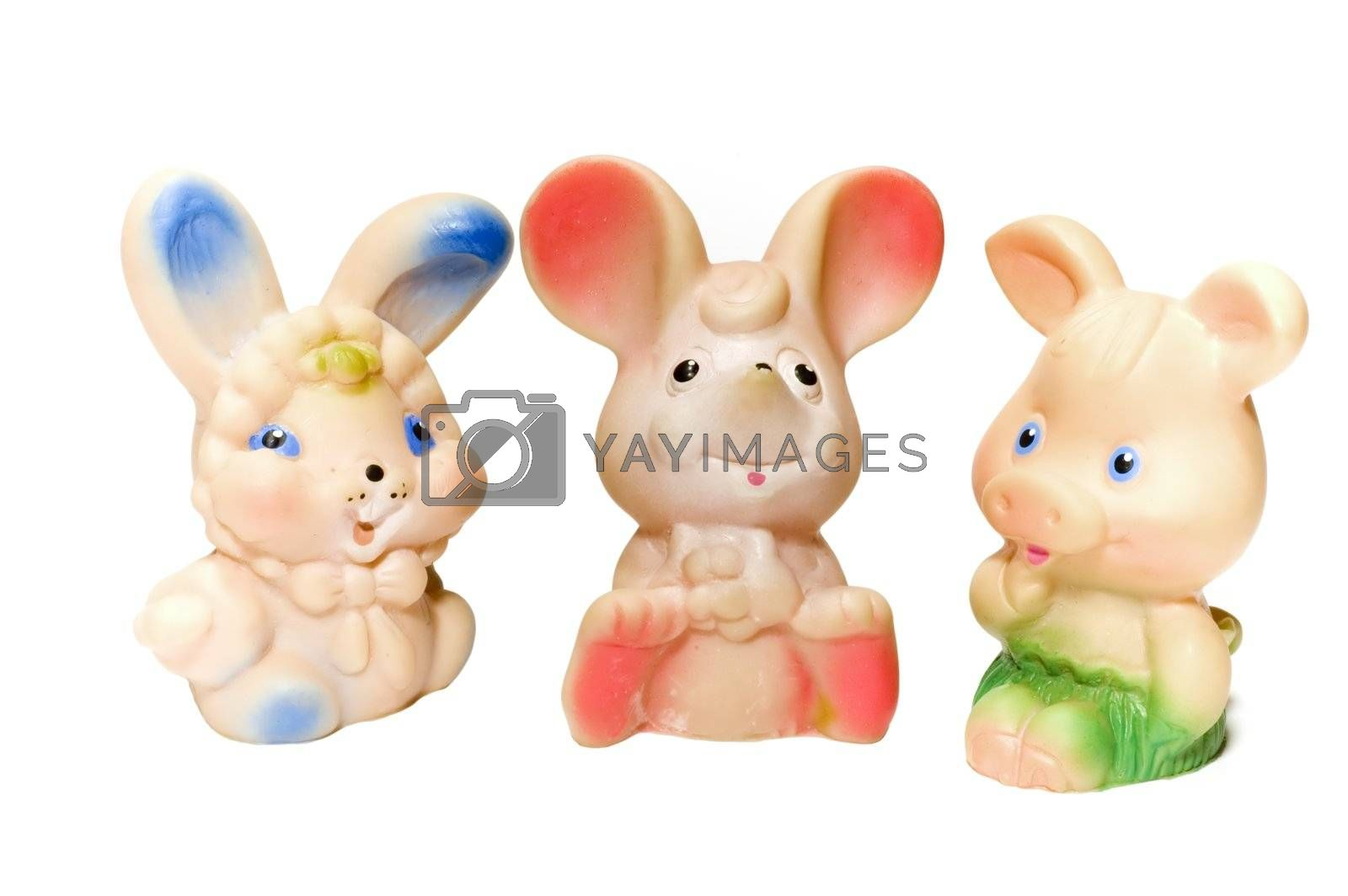 series object on white: isolated - Toy animals