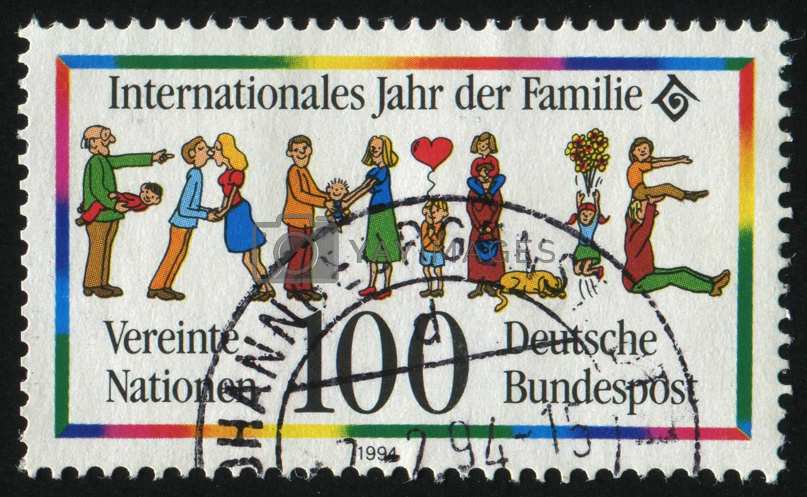 GERMANY- CIRCA 1994: stamp printed by Germany, shows Year of the Family, circa 1994.