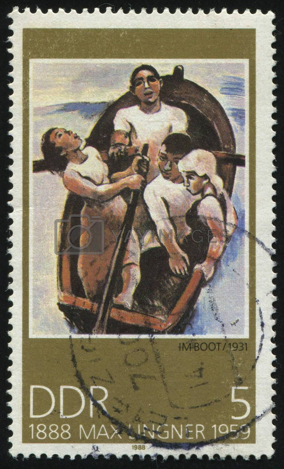 GERMANY- CIRCA 1988: stamp printed by Germany, shows  Paintings by Max Lingner In the Boat, circa 1988.