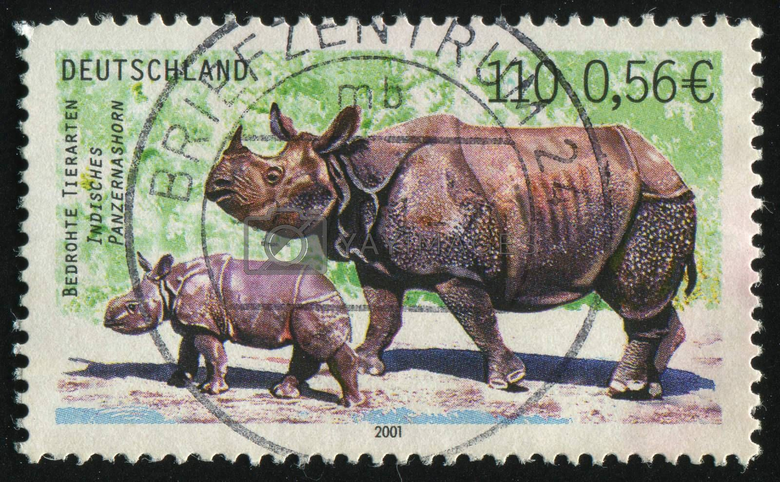 GERMANY- CIRCA 2001: stamp printed by Germany, shows Indian rhinoceros, circa 2001.