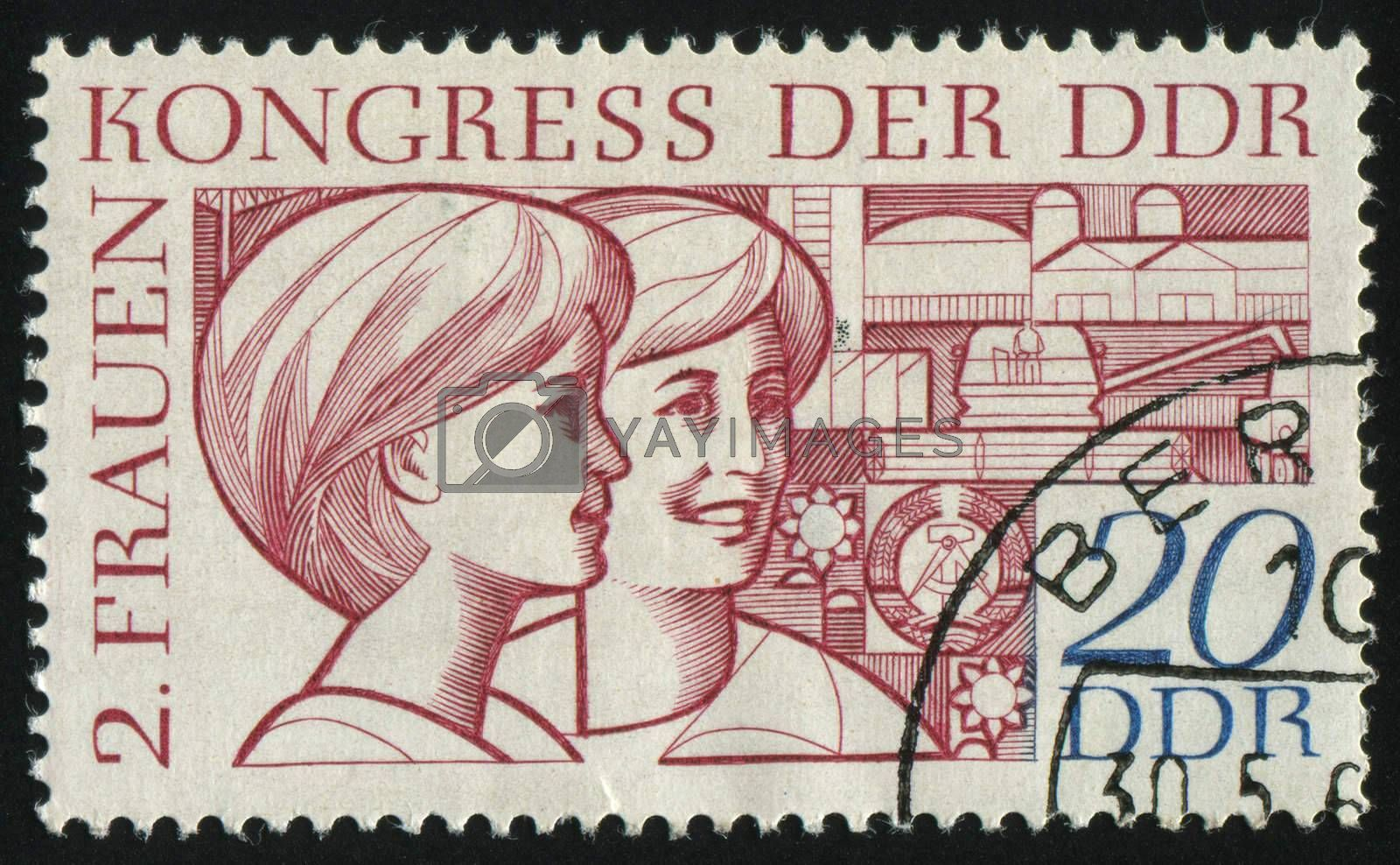GERMANY- CIRCA 1969: stamp printed by Germany, shows Women and Symbols of Agriculture Science and Industry, circa 1969.