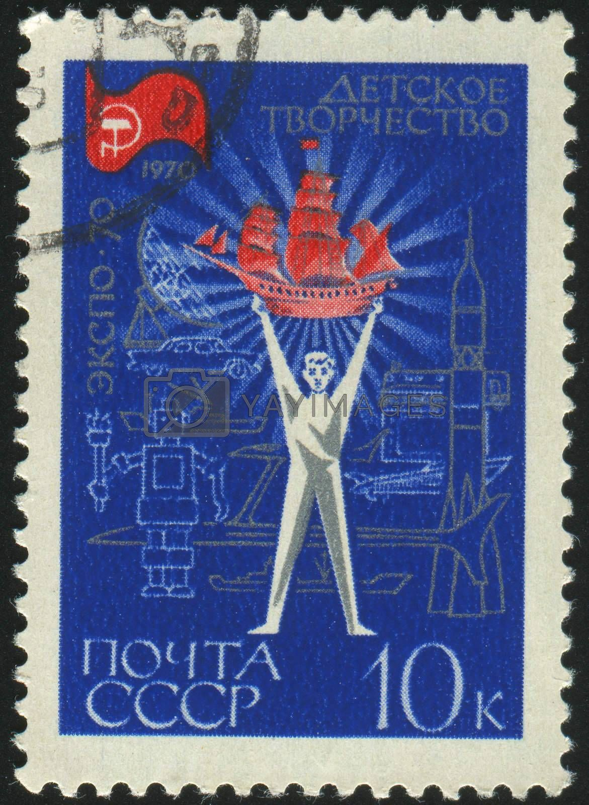 RUSSIA - CIRCA 1970: stamp printed by Russia, shows boy and the ship, circa 1970.