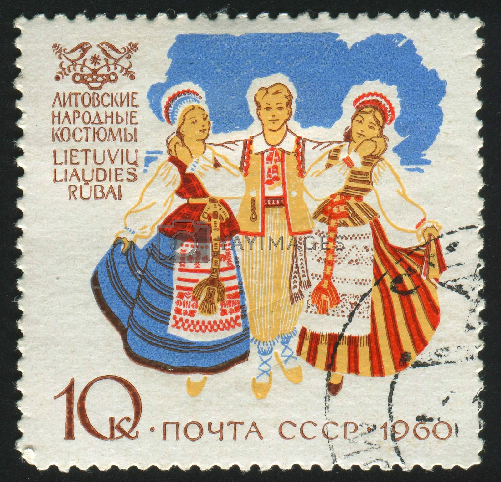 RUSSIA - CIRCA 1960: stamp printed by Russia, shows traditional costume, circa 1960.