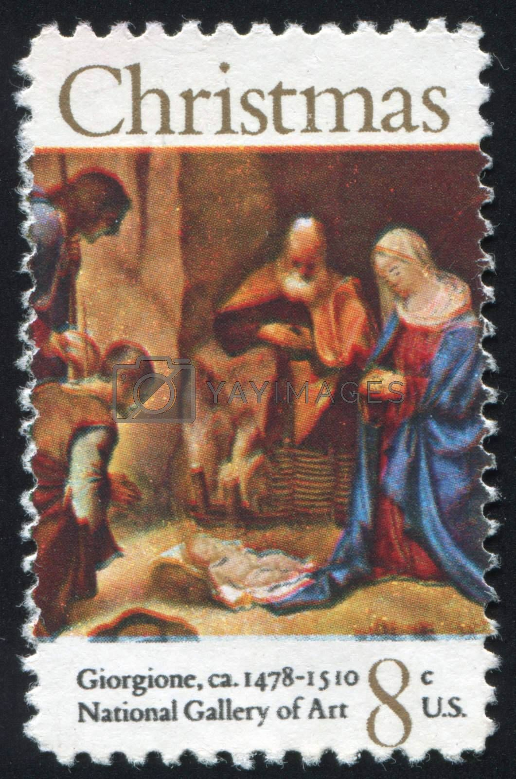 UNITED STATES - CIRCA 1971: stamp printed by United states, shows Adoration of the Shepherds, by Giorgione, circa 1971