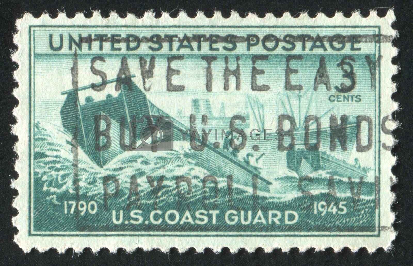 UNITED STATES - CIRCA 1945: stamp printed by United states, shows Coast Guard Landing Craft and Supply Ship, circa 1945