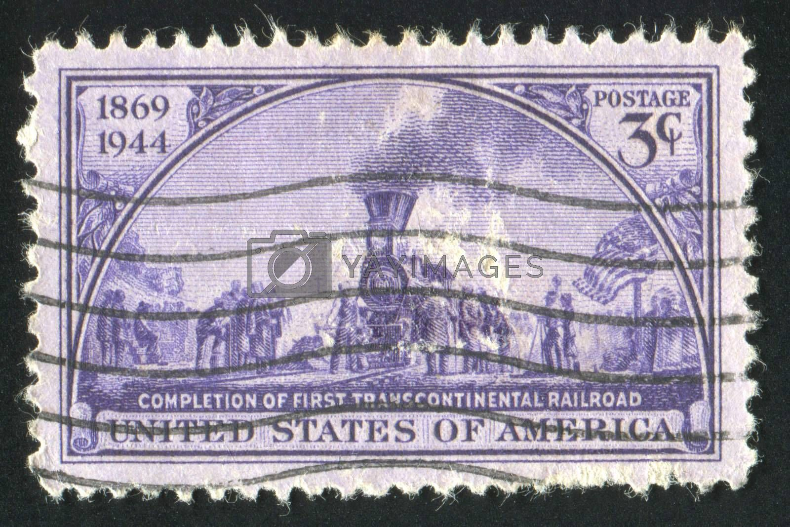"UNITED STATES - CIRCA 1944: stamp printed by United states, shows ""Golden Spike Ceremony� Painting by John McQuarrie, circa 1944"