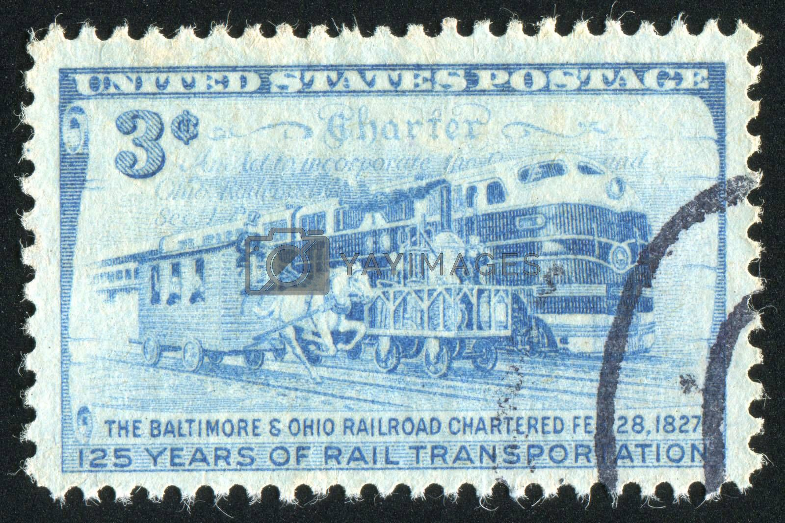 UNITED STATES - CIRCA 1952: stamp printed by United states, shows Charter and Three Stages of Rail Transportation, circa 1952