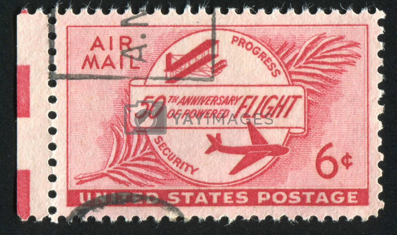 UNITED STATES - CIRCA 1949: stamp printed by United states, Boeing Stratocruiser and Globe, circa 1949