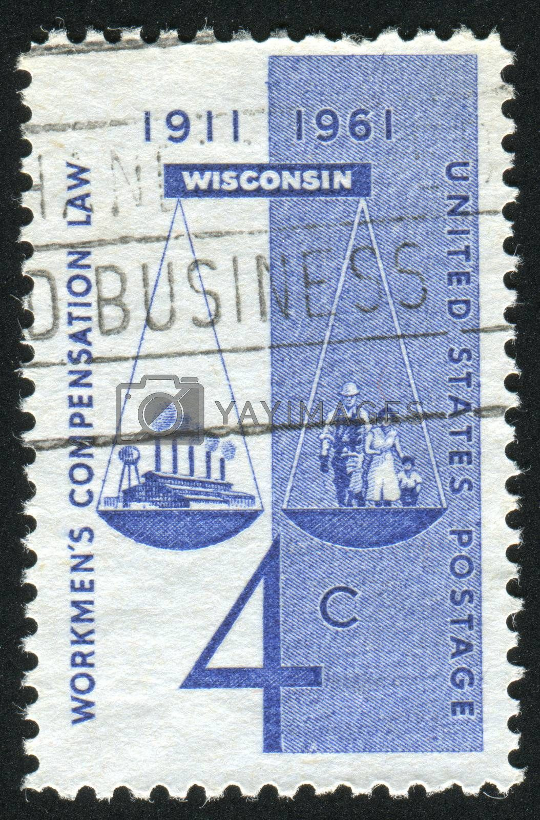UNITED STATES - CIRCA 1961: stamp printed by United states, shows Scales of Justice Factory, Worker and Family, circa 1961