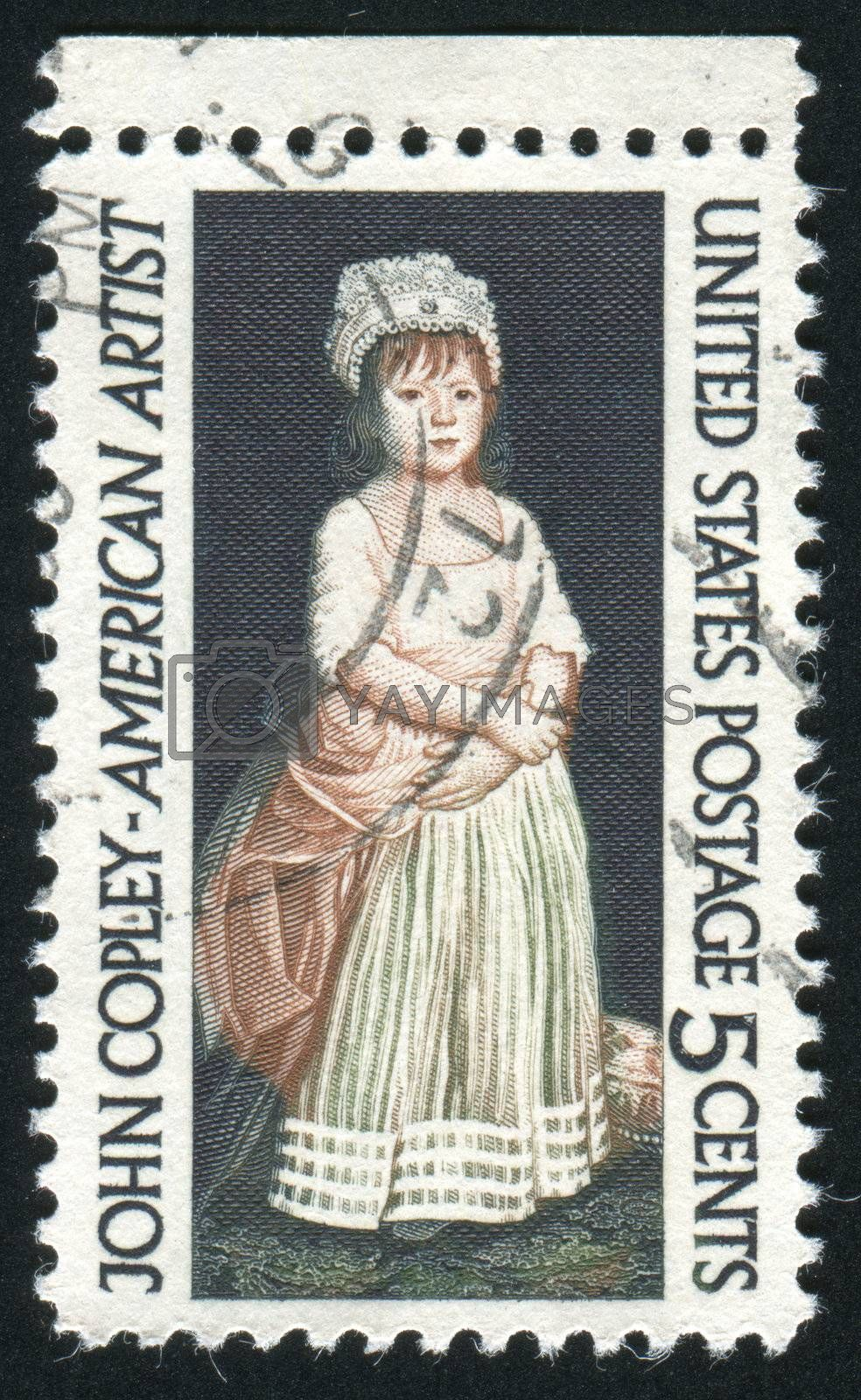 UNITED STATES - CIRCA 1965: stamp printed by United states, shows Elizabeth Clarke by John Copley, circa 1965
