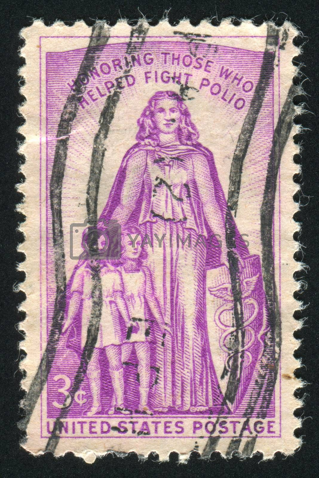 UNITED STATES - CIRCA 1957: stamp printed by United states, shows Woman, boy and girl, circa 1957