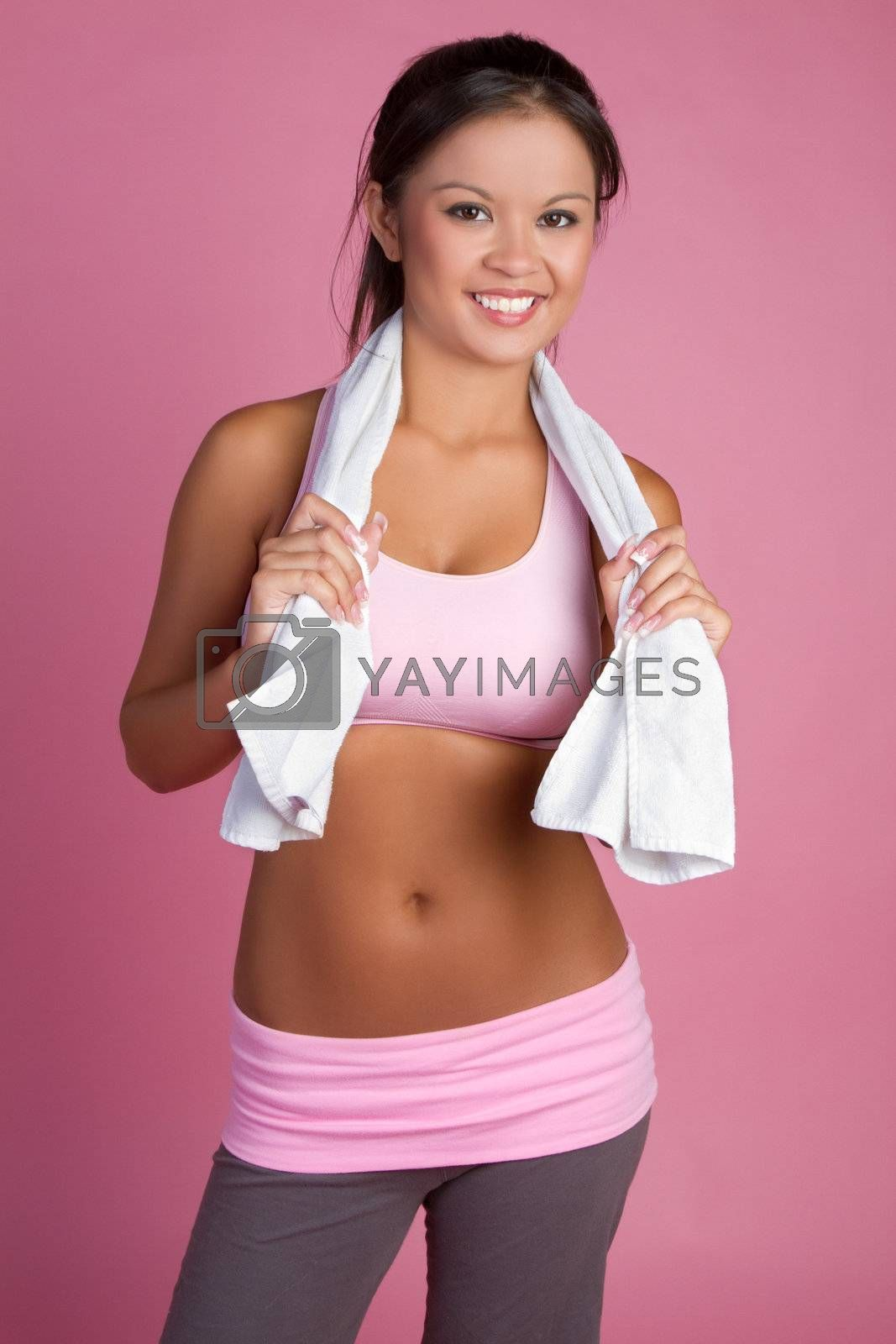 Beautiful smiling fitness woman resting