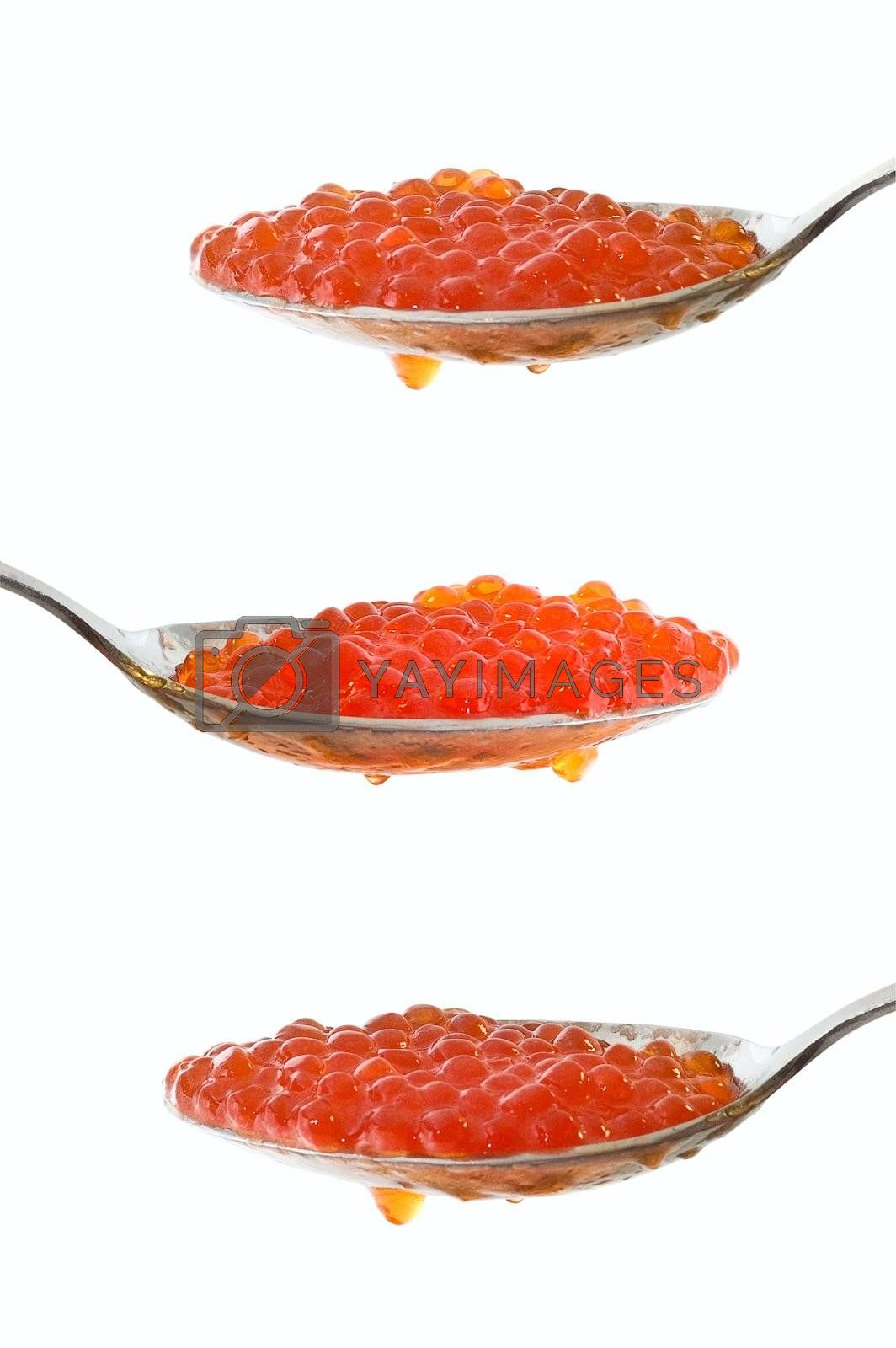 Caviar at spoon on white background