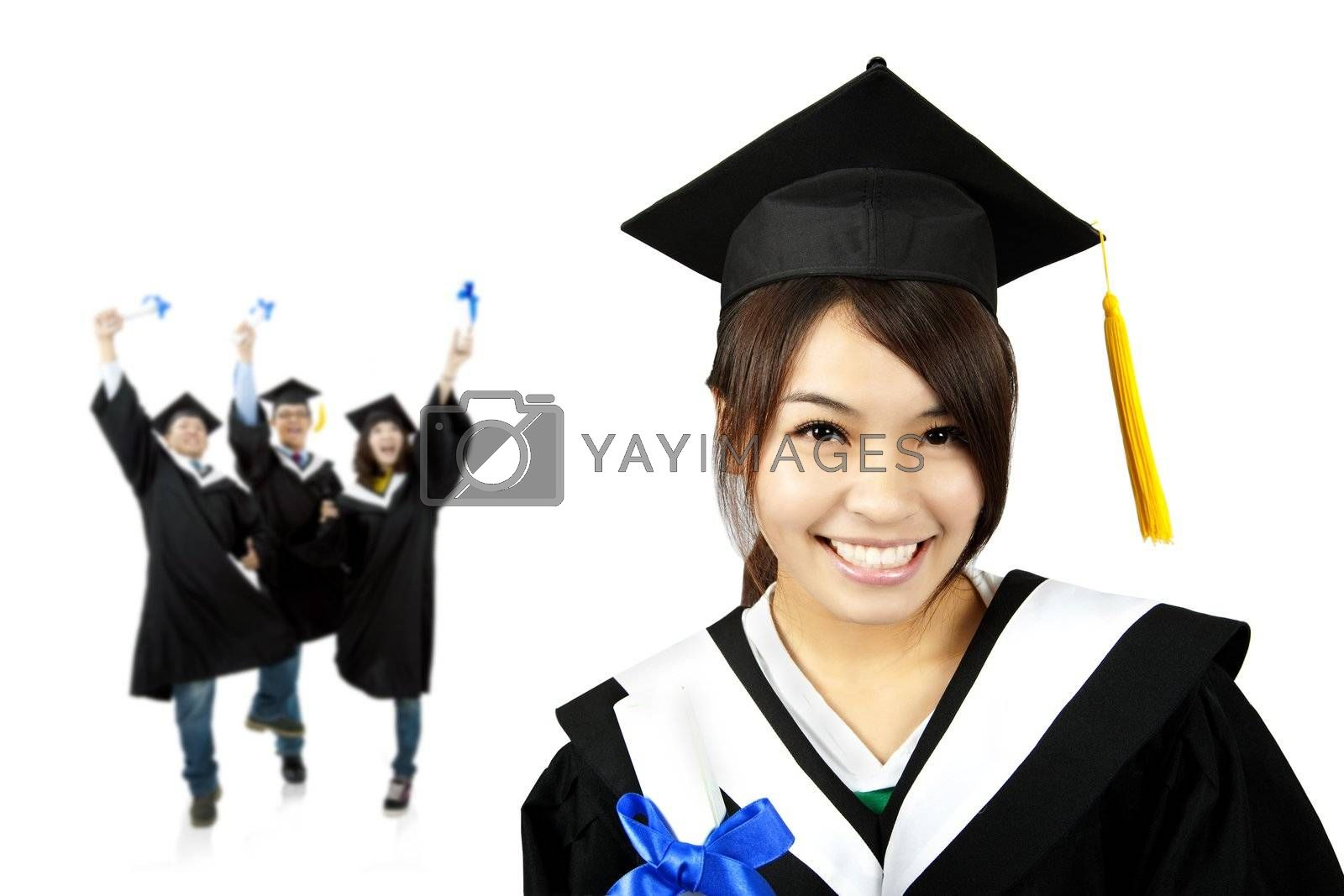 Young smiling graduate asian girl and happy students group by tomwang