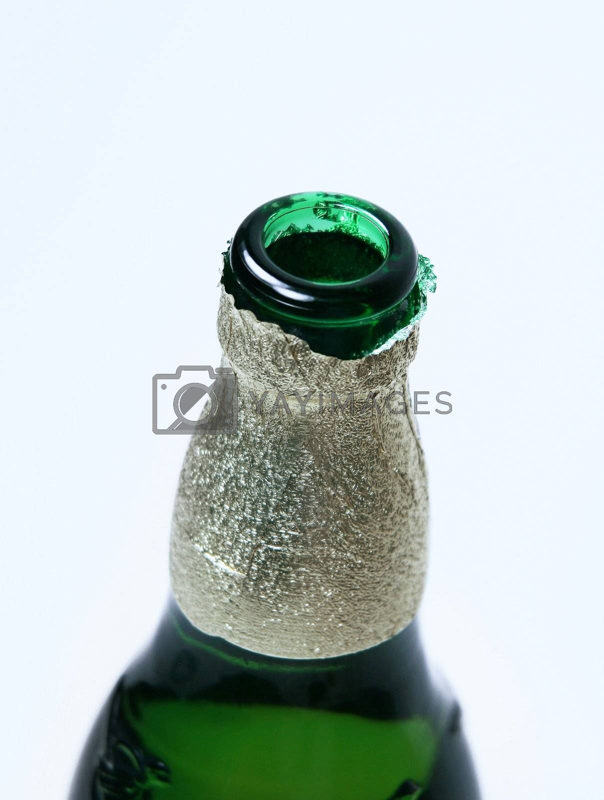 neck of green bottle
