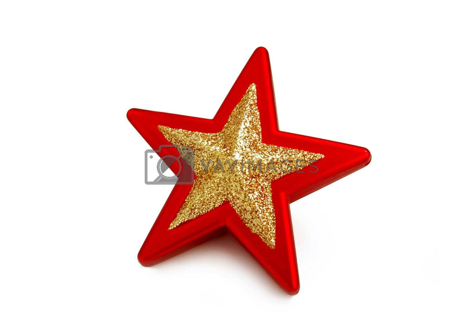 red and golden star isolated on white