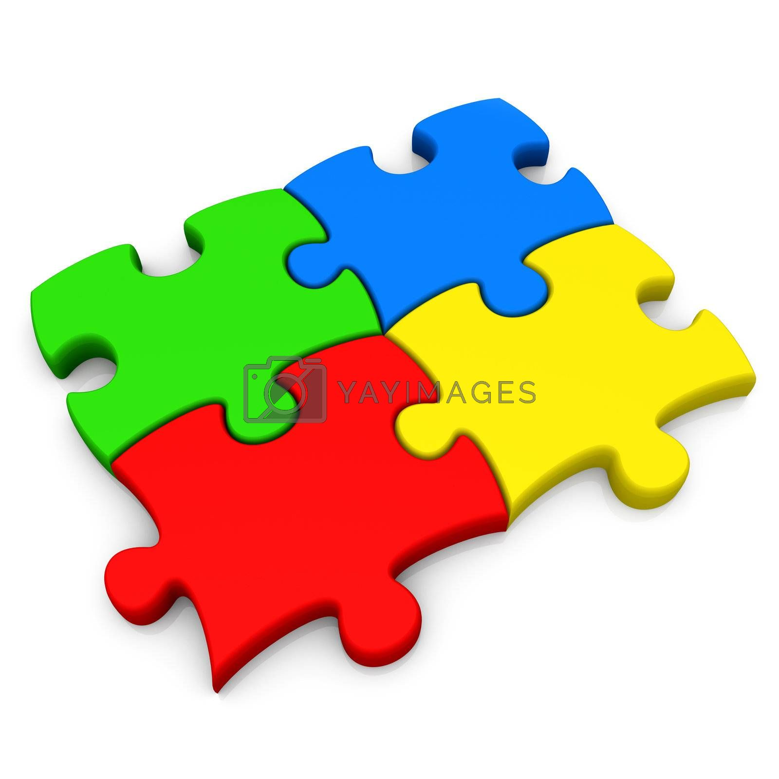 Four connected jigsaw puzzle pieces .