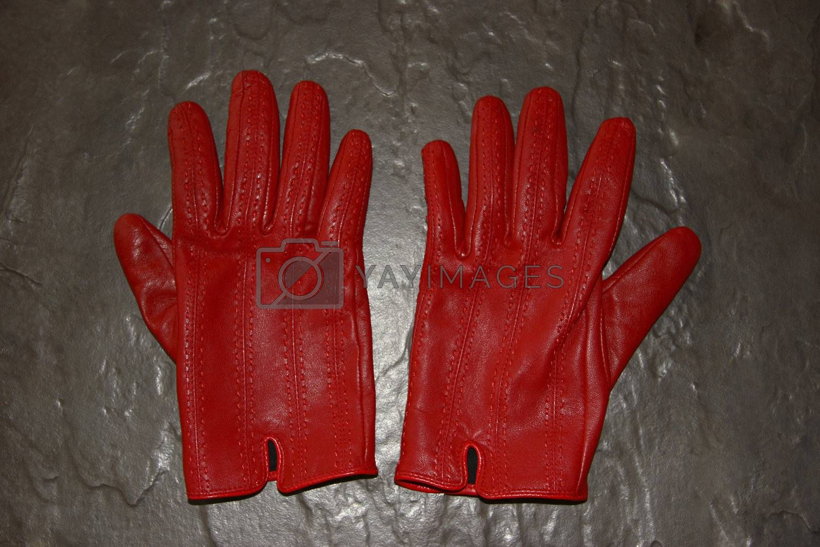 a pair of red gloves