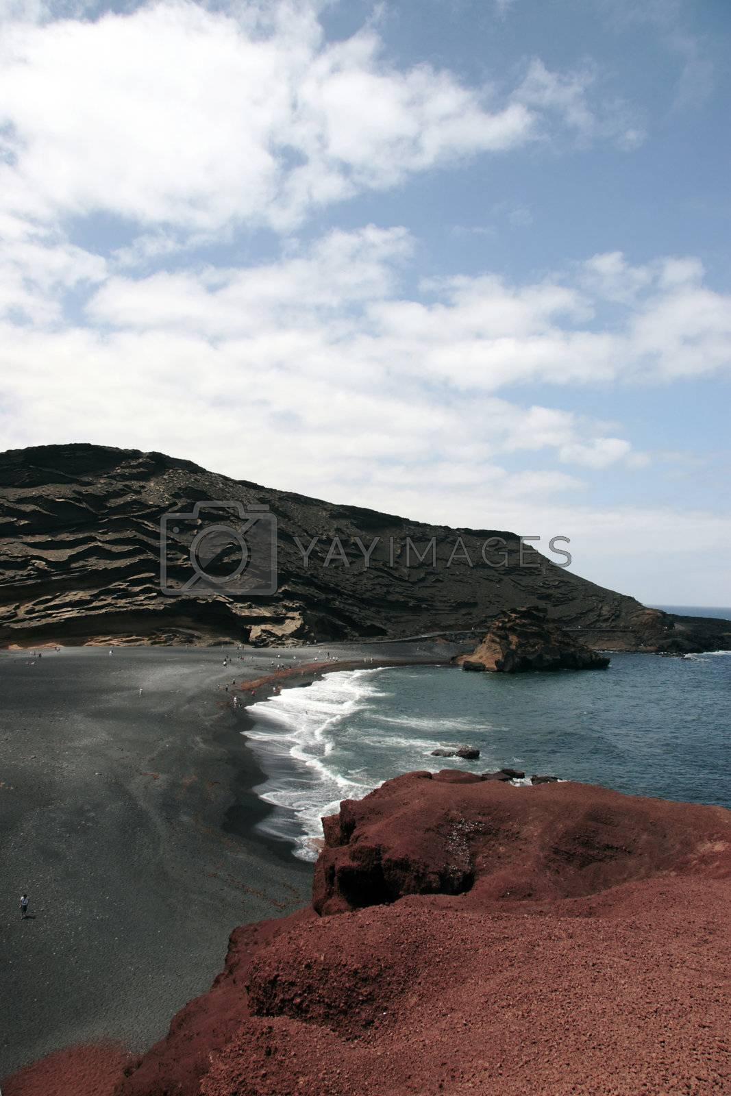 the coast line of a volcanic island