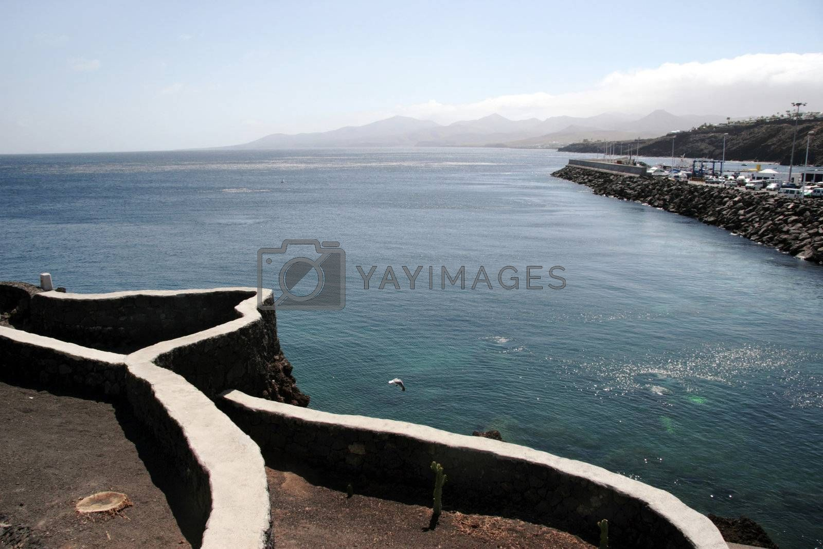 path on the lanzarote coast line