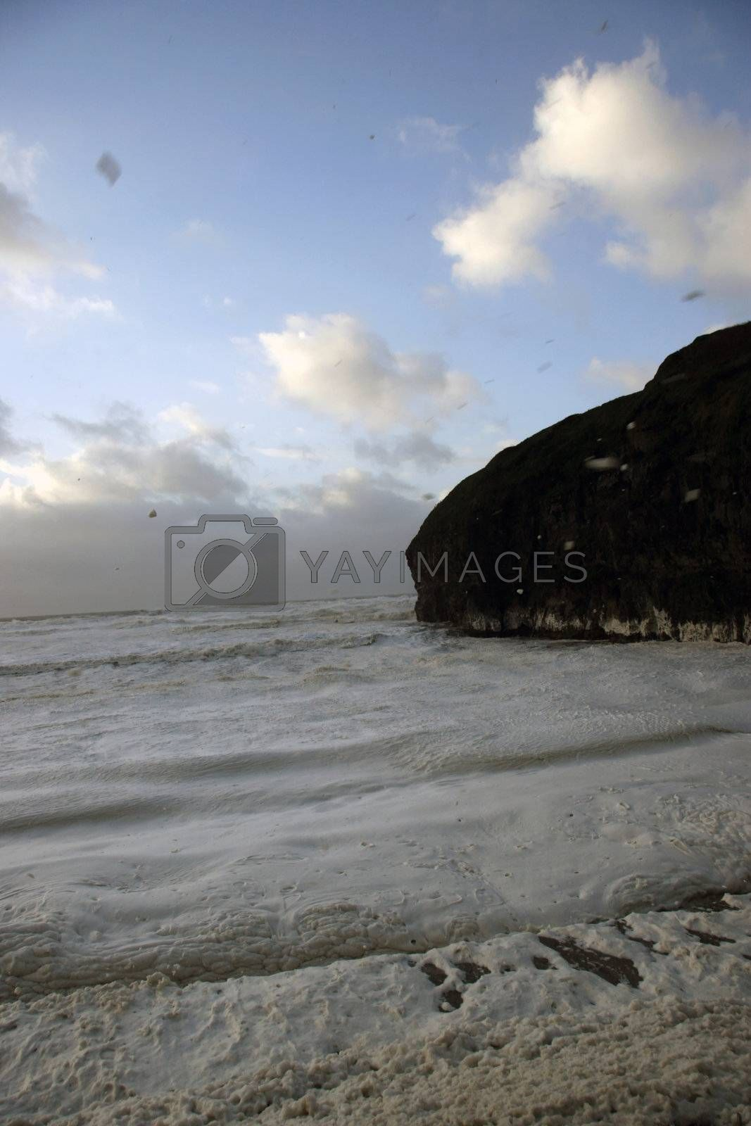 foamy waves after a bad atlantic storm
