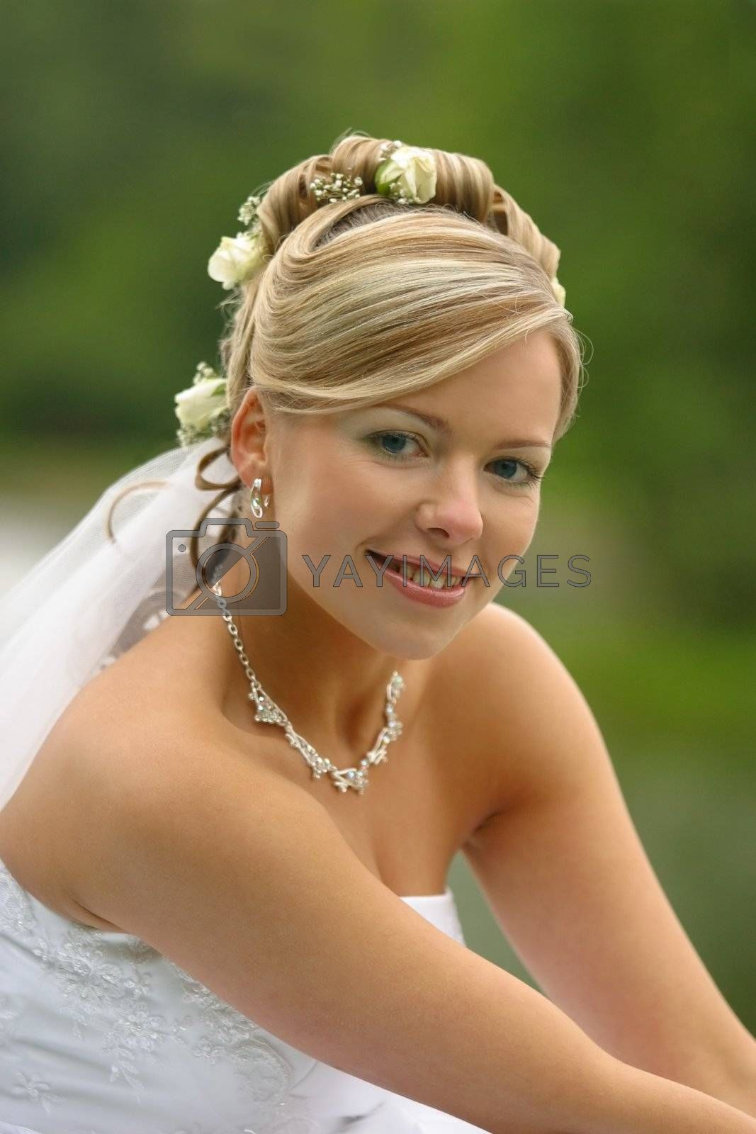 The beautiful bride on a green background