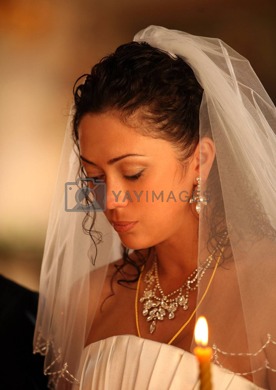 The bride on ceremony of wedding - internal church