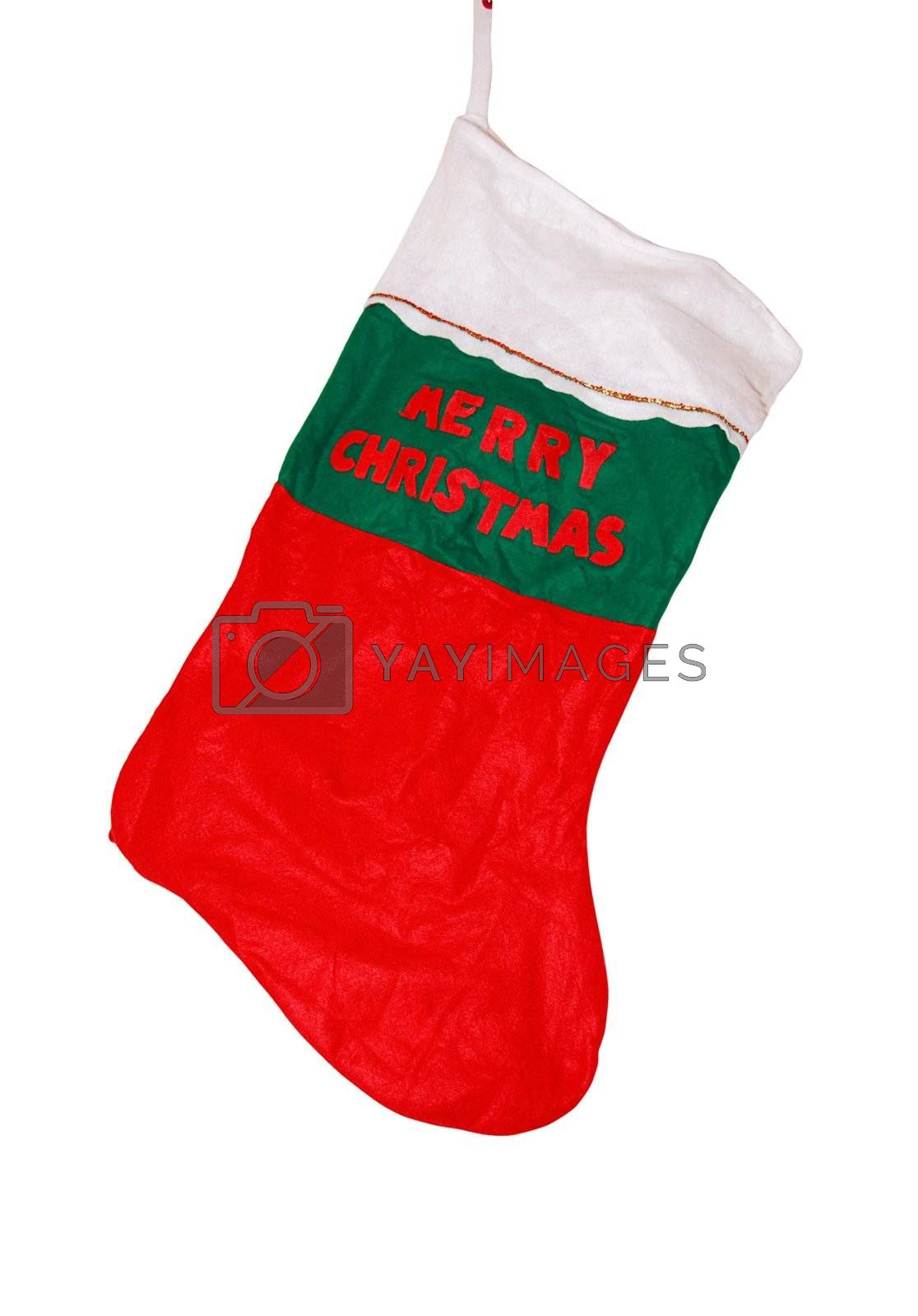 a christmas stocking with a clipping path,