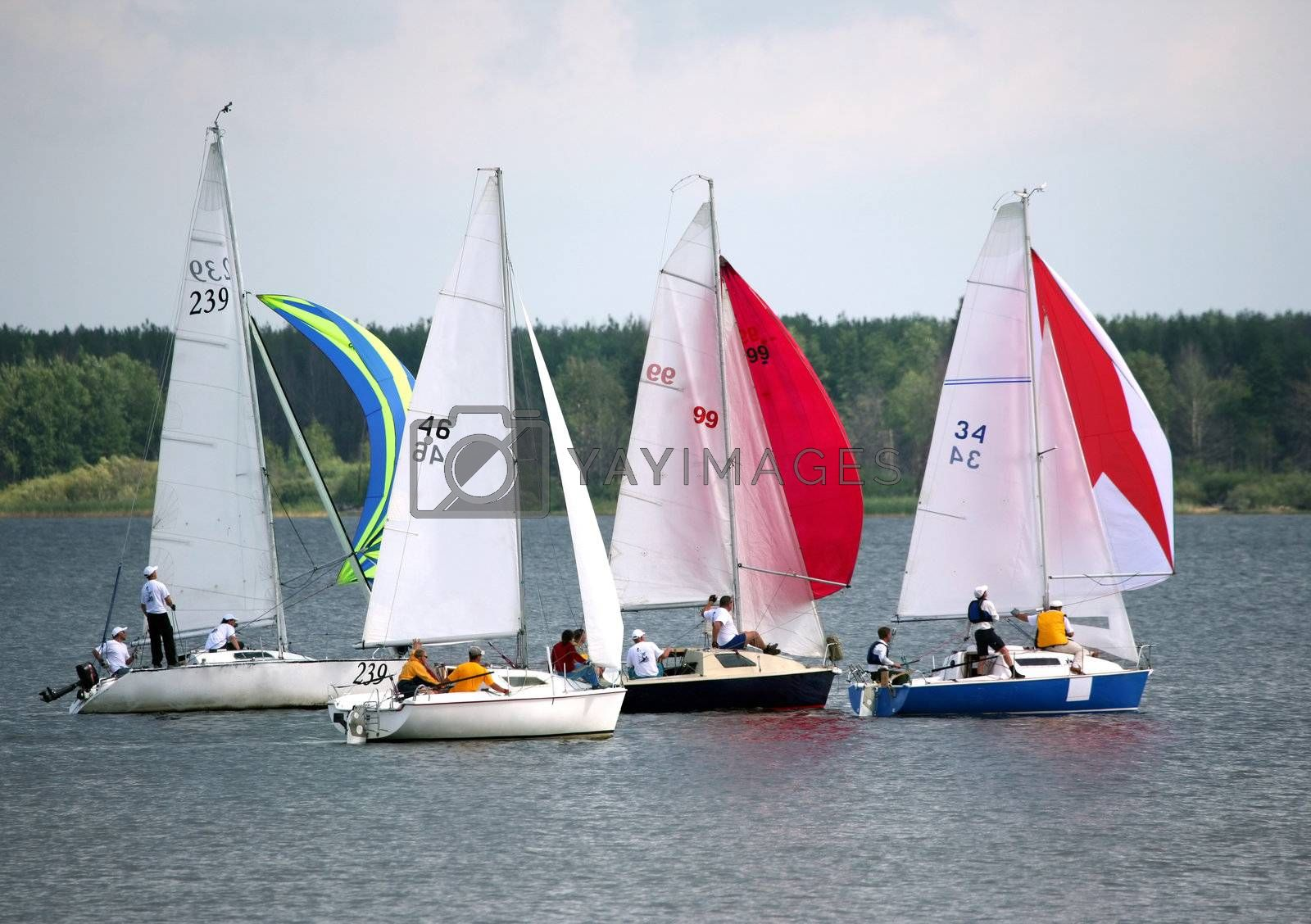 Four sailing boat at an open river. Competitions in Russia