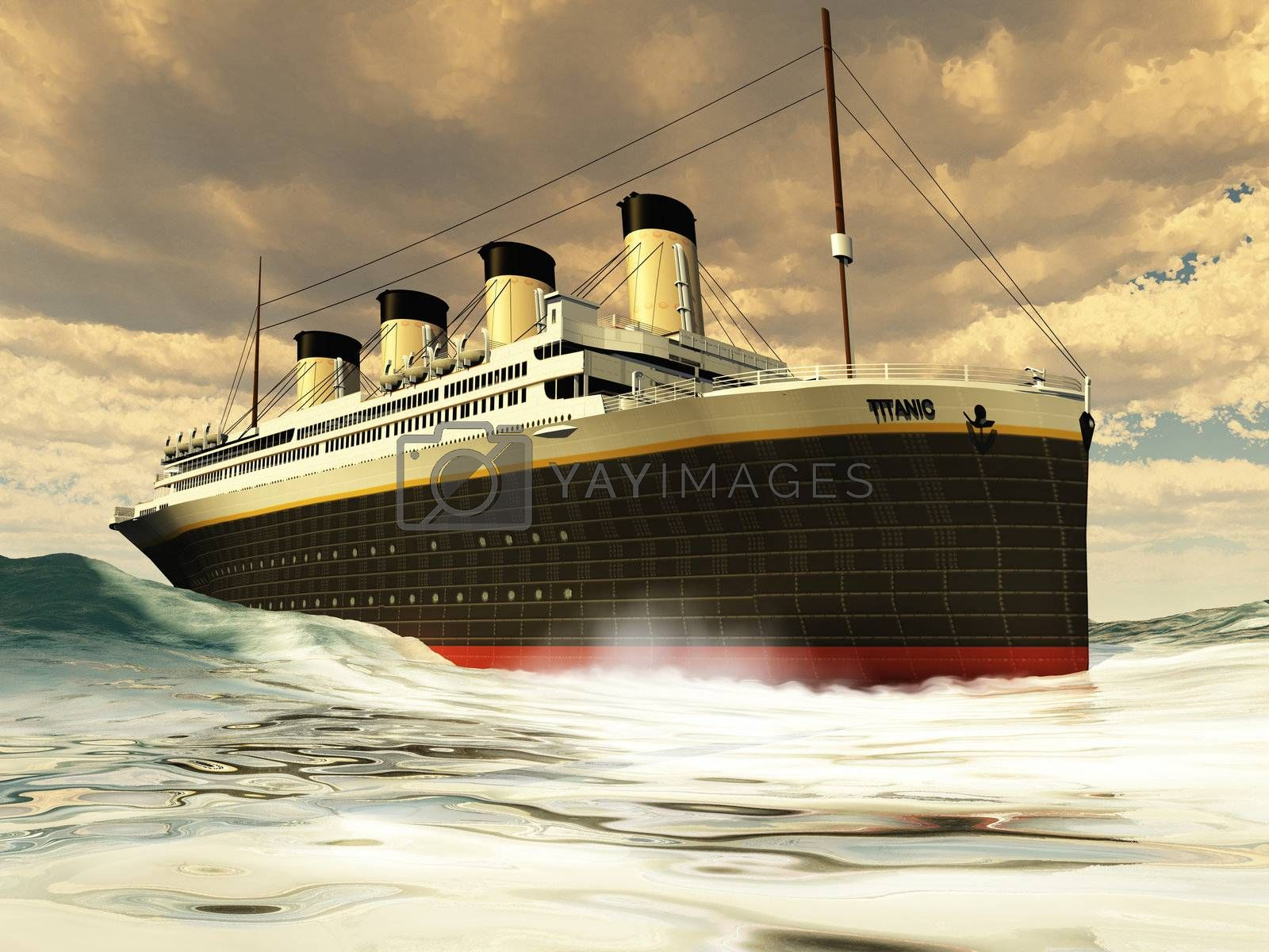 The grand and elegant Titanic glides through the ocean with ease.
