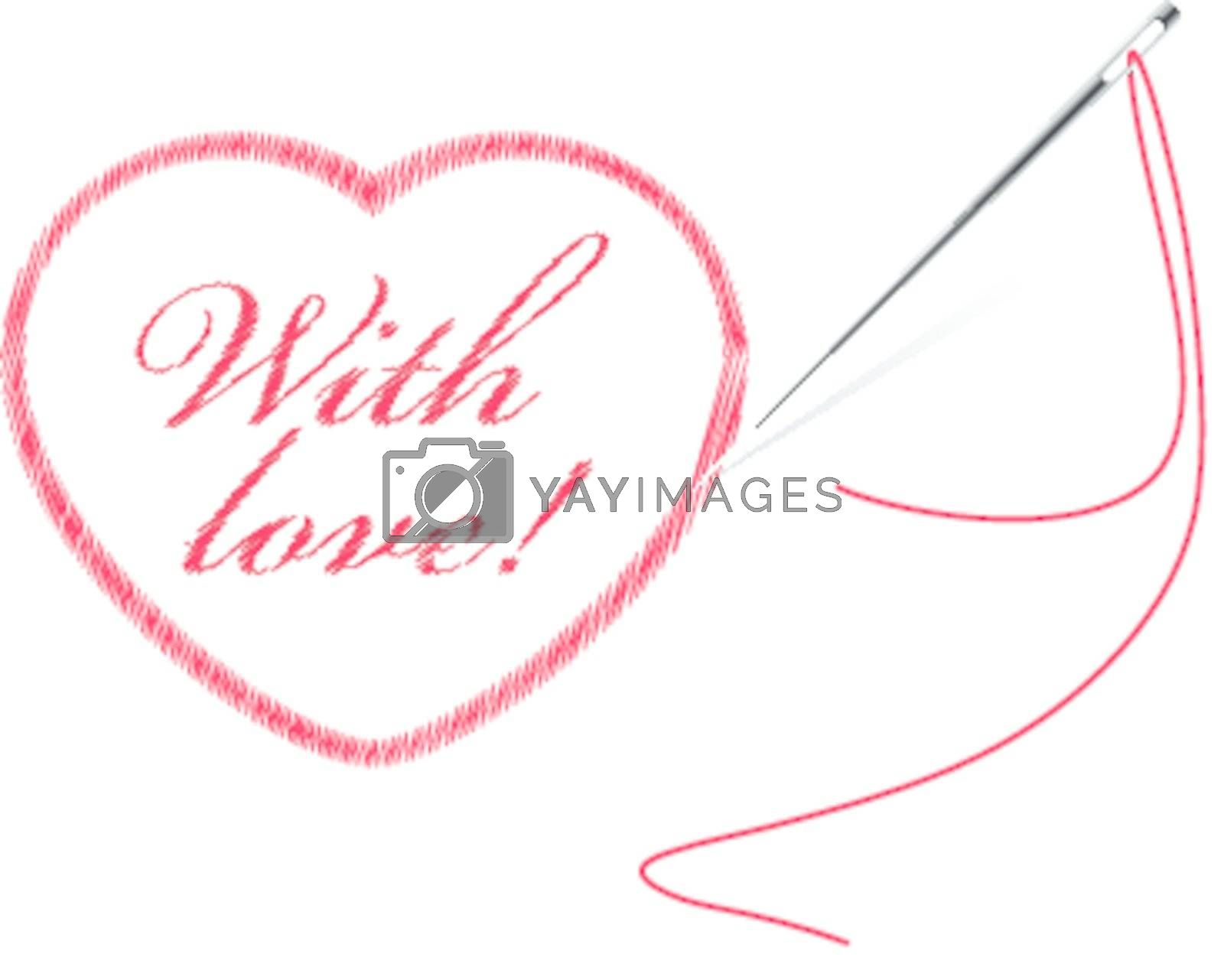 embroidery with heart and frame vector illustration isolated on white background