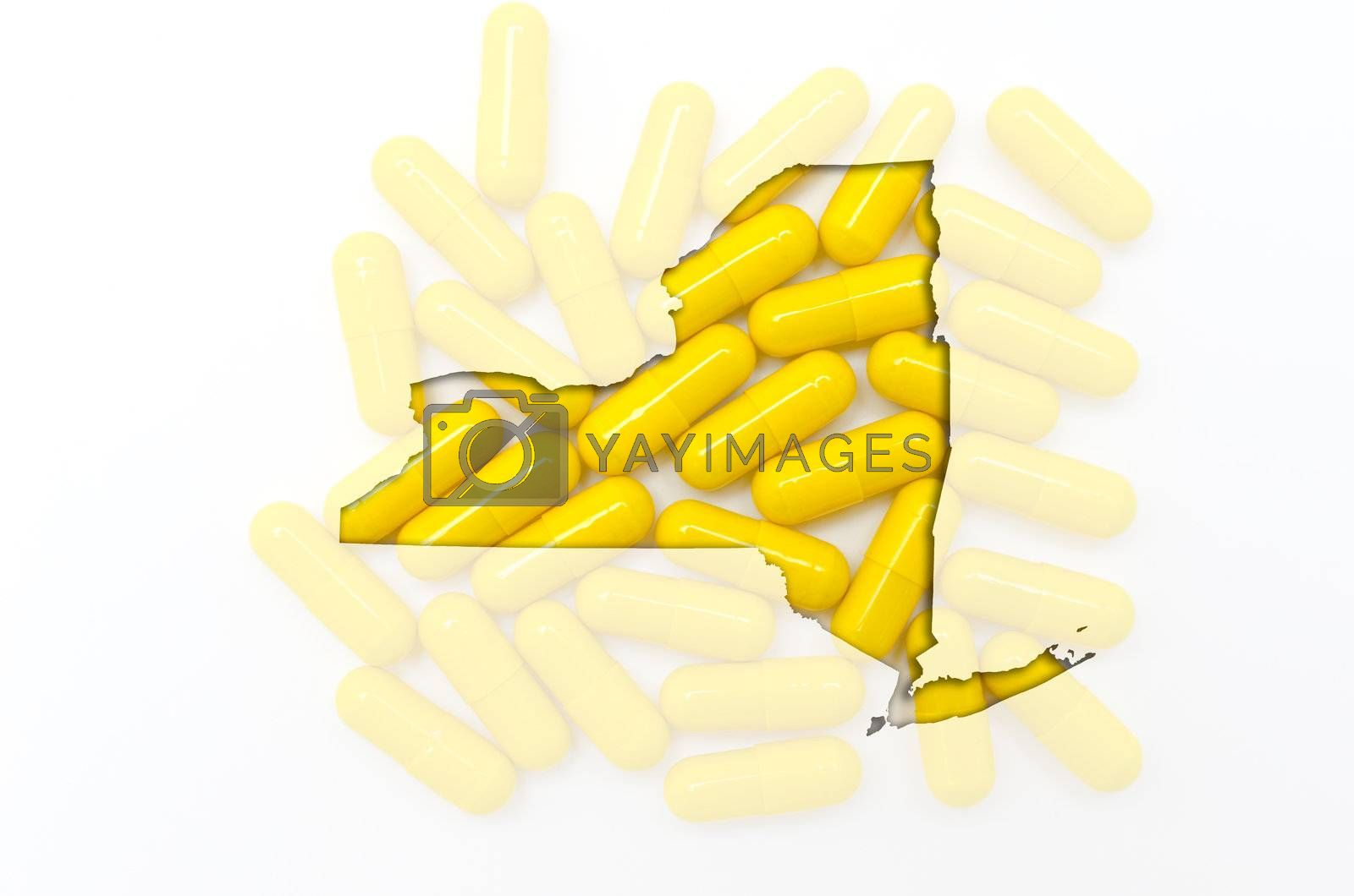 Outlined new york with transparent background of capsules