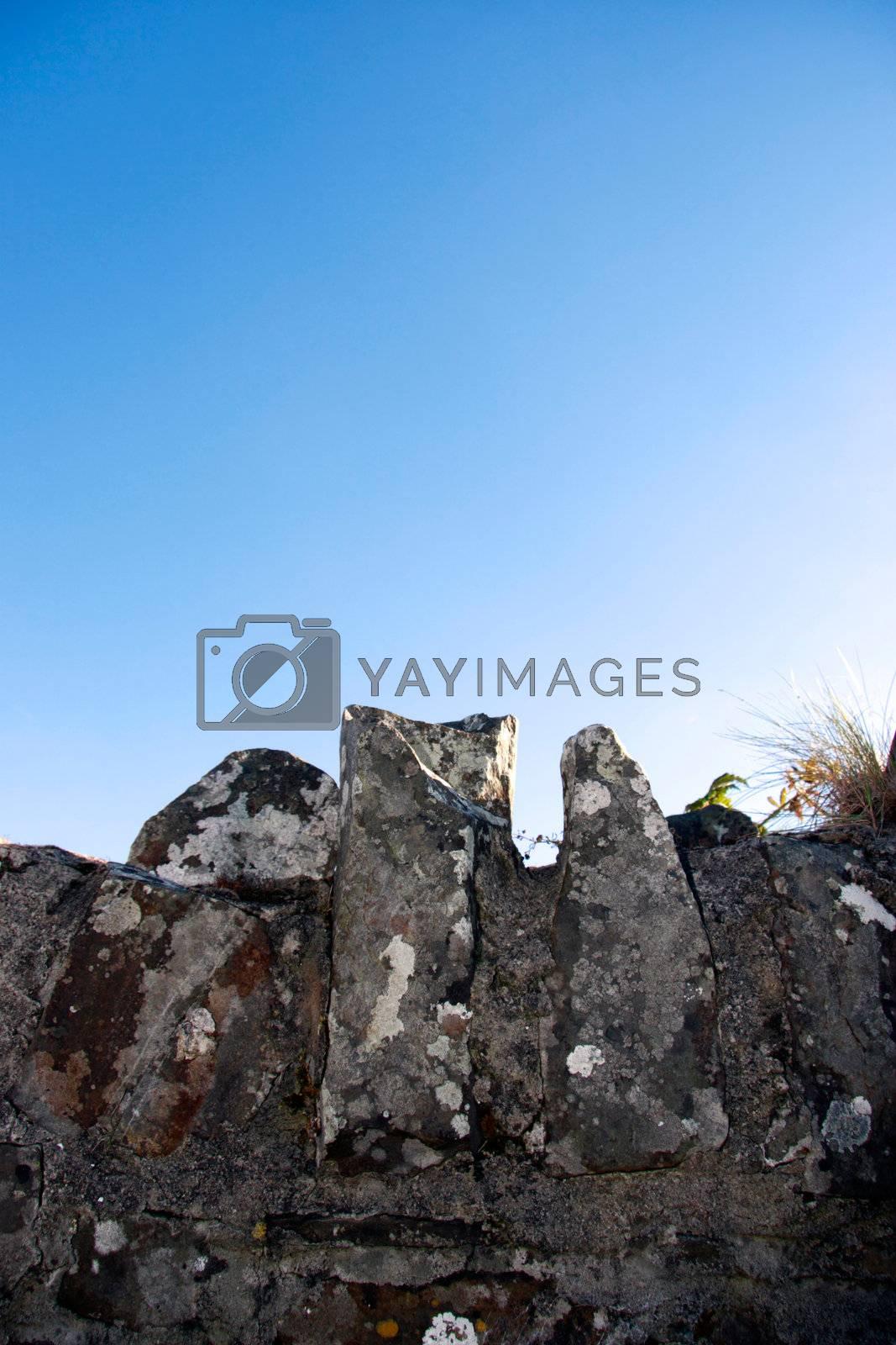 the top of an old irish stone wall
