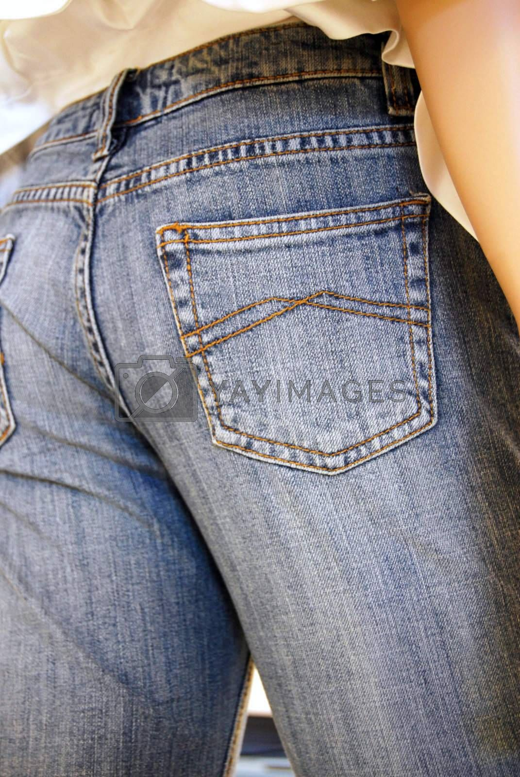 Blue jeans - rear end view.  Great back pocket shot - you can make things stick out very easily, with Photoshop.