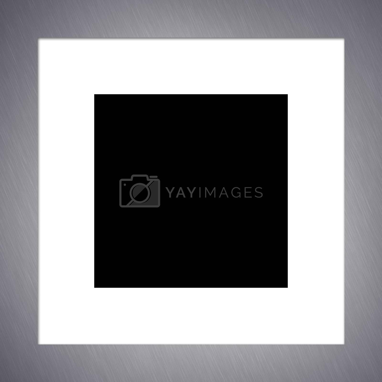 A brushed aluminum photo frame border.  Includes clipping path.
