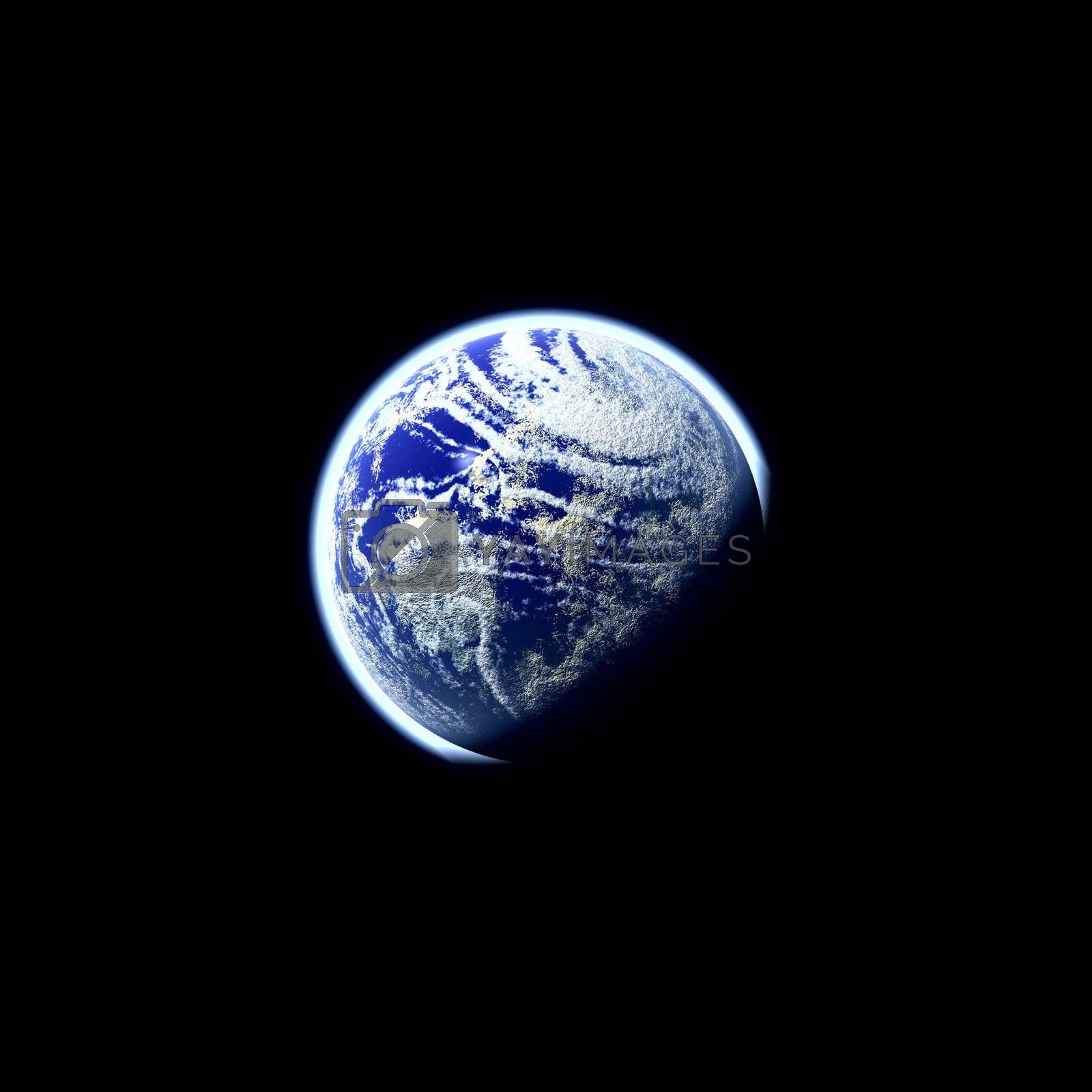 A glowing planet earth illustration over a black background.