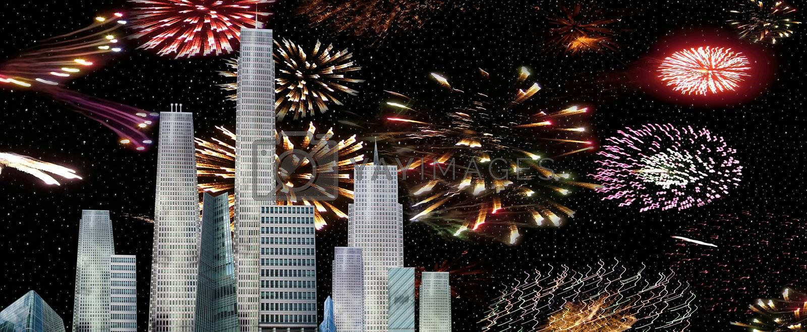 a city view of a firework celebrations