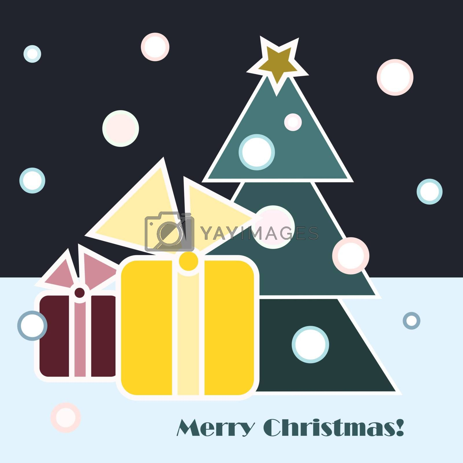 Christmas gifts and Christmas tree on dark sky and blue snow background